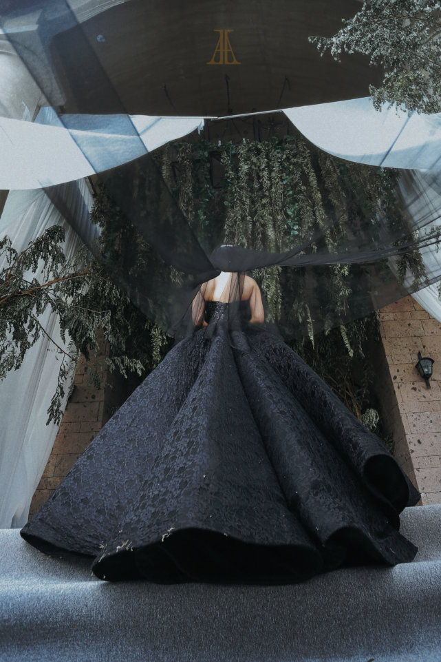 wedding - Bride Maja Salvador Wore Black Wedding Dress
